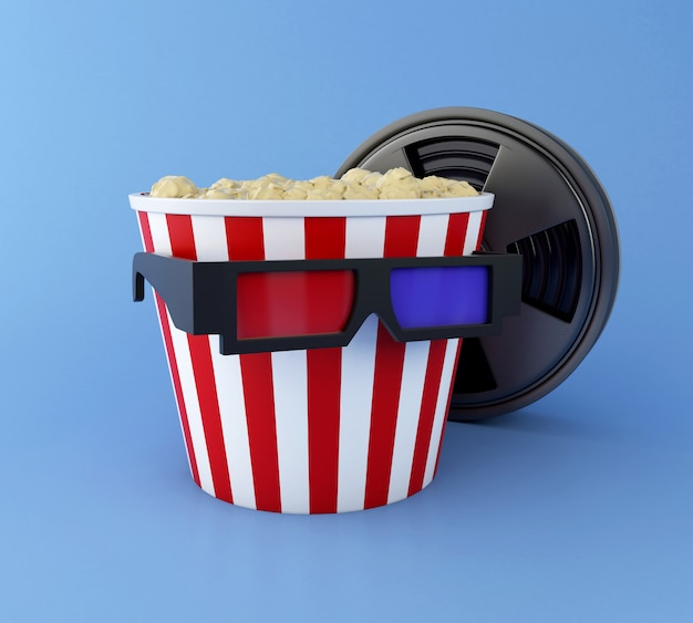 3d film reel, popcorn and 3d glasses.