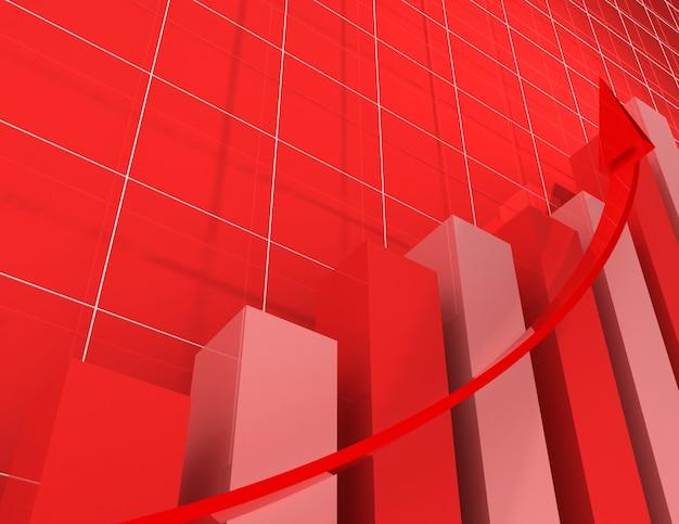 3d財務グラフ統計。ビジネスの概念