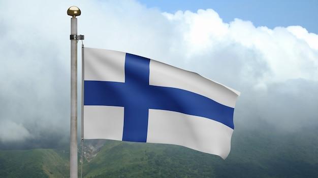 3d, финский флаг развевается на ветру на горе. флаг финляндии, развевающий мягкий шелк. предпосылка прапорщика текстуры ткани ткани. используйте его для концепции национального дня и страны.