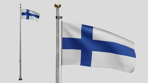 3d、風に揺れるフィンランドの旗。フィンランドのバナーを吹く、柔らかく滑らかなシルクのクローズアップ。布生地のテクスチャは、背景をエンサインします。建国記念日や国の行事のコンセプトに使用してください。