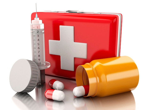 3d first aid kit, syringe and pills