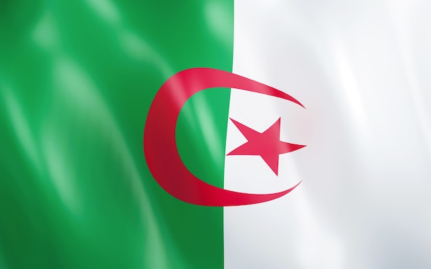 3d flag of algeria.