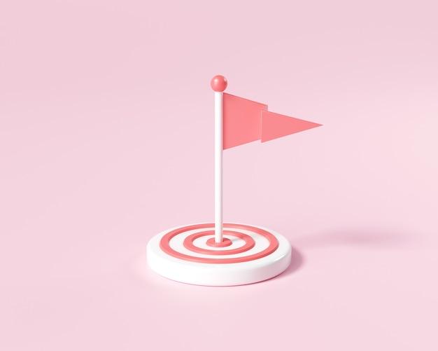 ターゲットの真ん中にある3dフラグ。目標を目指し、モチベーションを高め、目標の概念を達成する方法。 3dレンダリングイラスト