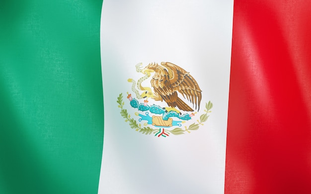 3d flag of mexico.