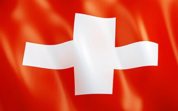 スイスの3d旗。