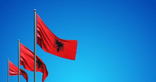 푸른 하늘에 알바니아를 비행하는 3d 깃대