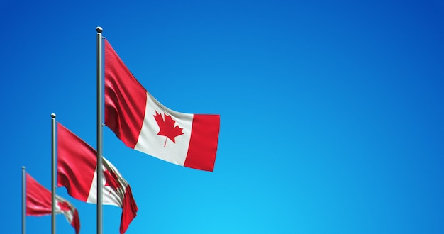 3d flagpole flying canada in the blue sky