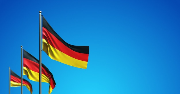 3d flagpole flying germany in the blue sky