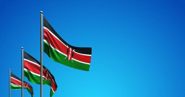 푸른 하늘에 케냐를 비행하는 3d 깃대