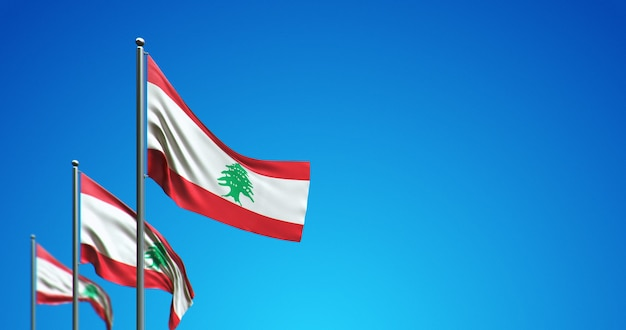 푸른 하늘에 레바논을 비행하는 3d 깃대