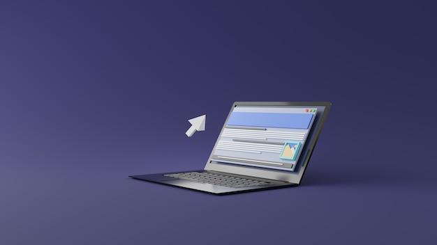 Трехмерный плавающий курсор мыши в удивительной концепции просмотра на экране ноутбука