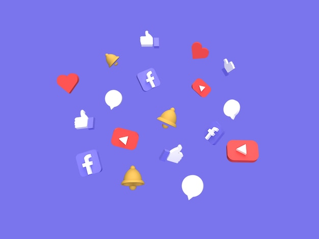 レンダリングされた青い背景を持つ3 dフローティングソーシャルメディアアイコンコンセプト