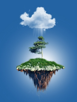 3d floating tree island under a cloud