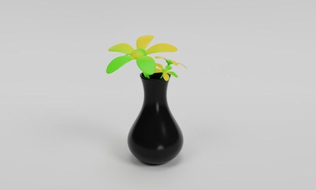 3차원, 꽃병, 삽화, 디자인