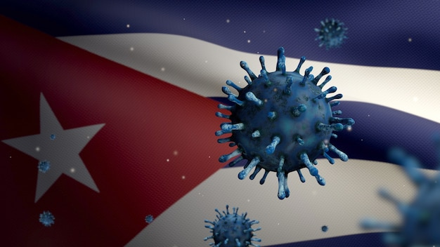 3d, flu coronavirus floating over cuban flag, a pathogen that attacks the respiratory tract. cuba banner waving with pandemic of covid19 virus infection concept. real fabric texture ensign