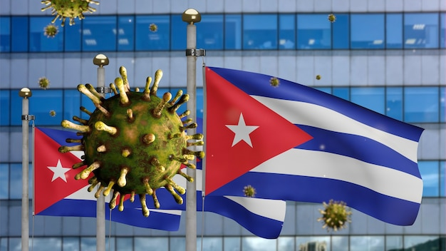 3d, flu coronavirus floating over cuban flag with modern skyscraper city. cuba banner waving with pandemic of covid19 virus infection concept. real fabric texture ensign