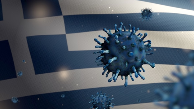 3d, flu coronavirus floating over greek flag, a pathogen that attacks the respiratory tract. greece banner waving with pandemic of covid19 virus infection concept. real fabric texture ensign