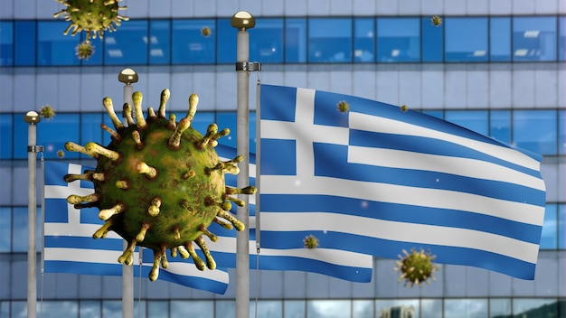 3d, flu coronavirus floating over greek flag with modern skyscraper city. greece banner waving with pandemic of covid19 virus infection concept. real fabric texture ensign