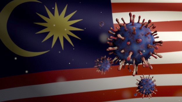 3d, 호흡기를 공격하는 병원체인 말레이시아 국기 위에 떠 있는 독감 코로나바이러스. covid19 바이러스 감염 개념의 대유행과 함께 흔들리는 말레이시아 배너. 실제 패브릭 질감 소위