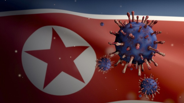3d、気道を攻撃する病原体である北朝鮮の旗の上に浮かぶインフルエンザコロナウイルス。 covid19ウイルス感染の概念のパンデミックで手を振っている韓国のバナー。本物の生地の質感のエンサイン