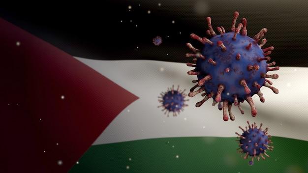 3d, коронавирус гриппа, плавающий над палестинским флагом, патоген, поражающий дыхательные пути. палестинский баннер развевается с концепцией пандемии вирусной инфекции covid19. настоящая ткань текстуры флага