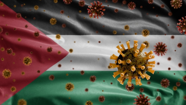 3d、気道を攻撃する病原体であるパレスチナの旗の上に浮かぶインフルエンザコロナウイルス。 covid19ウイルス感染の概念のパンデミックで手を振るパレスチナテンプレート