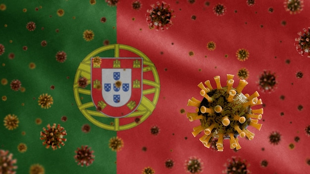 3d、ポルトガルの旗の上に浮かぶインフルエンザコロナウイルス、気道を攻撃する病原体。 covid19ウイルス感染の概念のパンデミックで手を振っているポルトガルのテンプレート