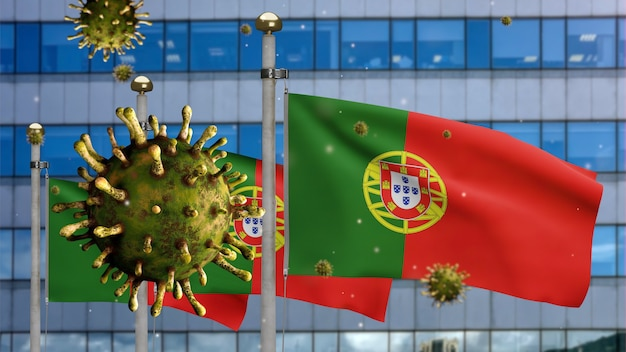 3d, 독감 코로나바이러스는 현대적인 마천루 도시와 함께 포르투갈 국기 위에 떠 있습니다. covid19 바이러스 감염 개념의 대유행과 함께 흔드는 포르투갈 배너. 실제 패브릭 질감 소위