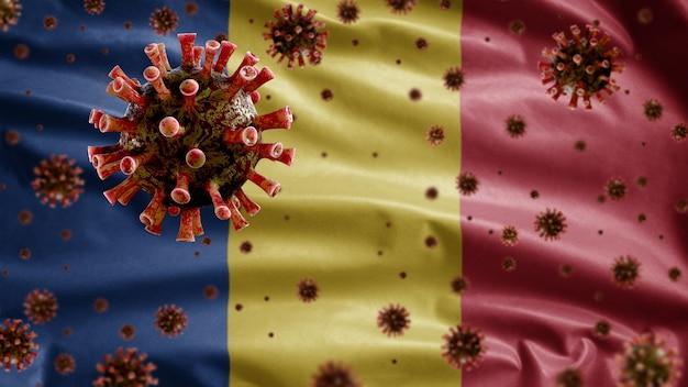 기도를 공격하는 병원균 인 루마니아 국기 위에 떠있는 3d 독감 코로나 바이러스. covid19 바이러스 감염 개념의 유행병을 흔들며 루마니아 템플릿