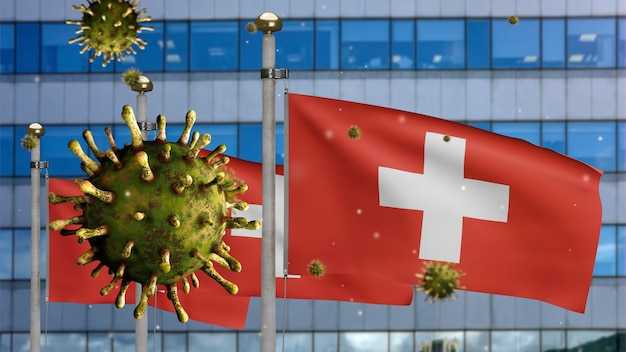 3d, flu coronavirus floating over switzerland flag with modern skyscraper city. swiss banner waving with pandemic of covid19 virus infection concept. real fabric texture ensign