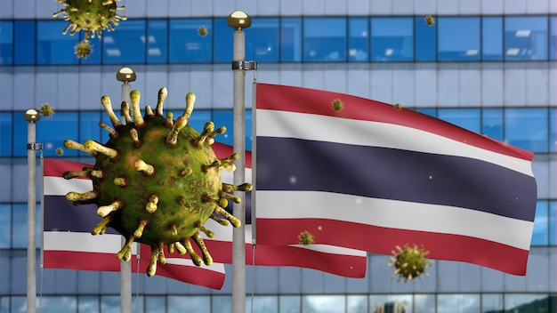 3d, flu coronavirus floating over thai flag with modern skyscraper city. thailand banner waving with pandemic of covid19 virus infection concept. real fabric texture ensign
