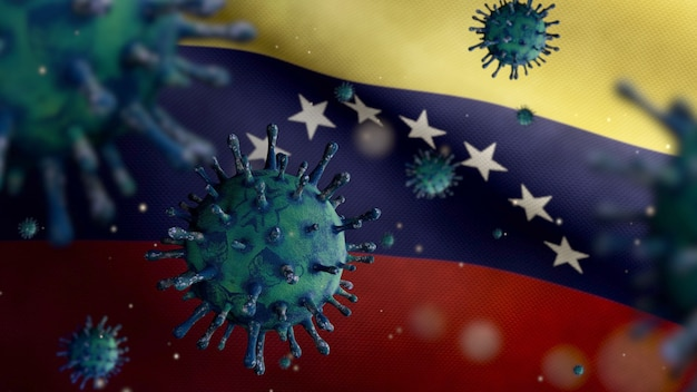 3d, flu coronavirus floating over venezuelan flag, a pathogen that attacks the respiratory tract. venezuela banner waving with pandemic of covid19 virus infection concept. real fabric texture ensign