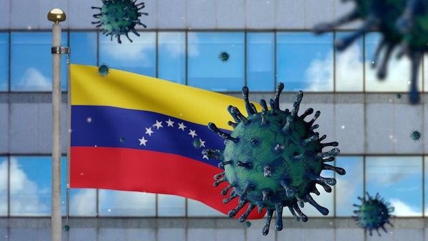 3d, flu coronavirus floating over venezuelan flag with modern skyscraper city. venezuela banner waving with pandemic of covid19 virus infection concept. real fabric texture ensign