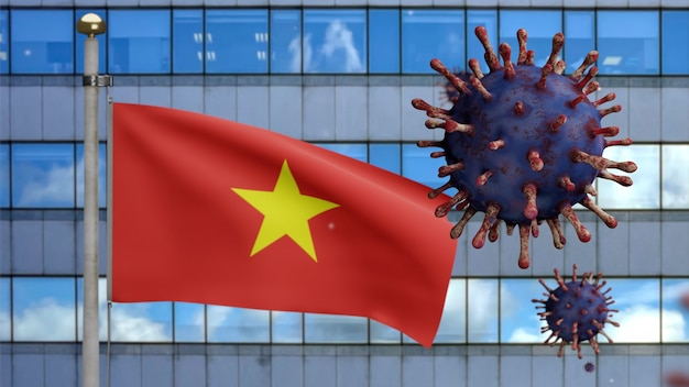 3d, flu coronavirus floating over vietnamese flag with modern skyscraper city. vietnam banner waving with pandemic of covid19 virus infection concept. real fabric texture ensign