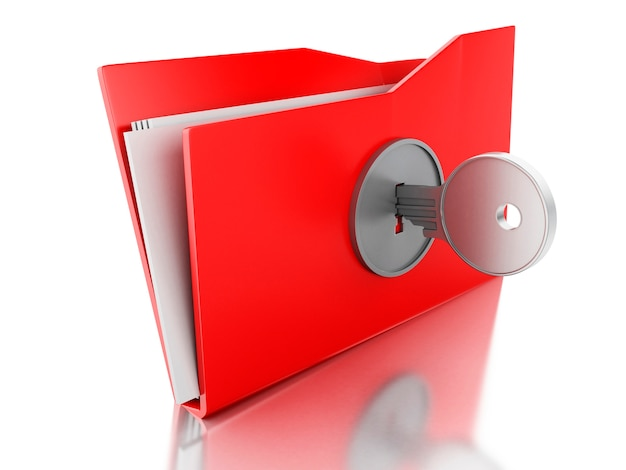 3d-папка с ключом. концепция безопасности.