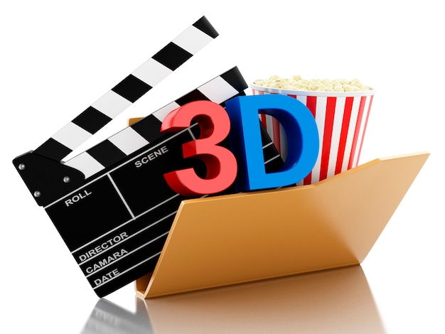 3d folder with cinema clapper and popcorn.