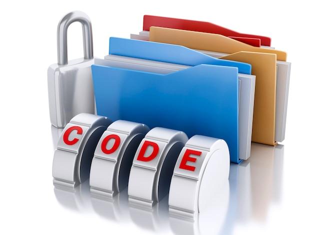 3d-папка с комбинацией замков и паролей