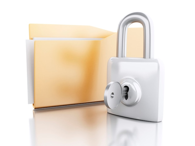 3d folder with padlock and key.