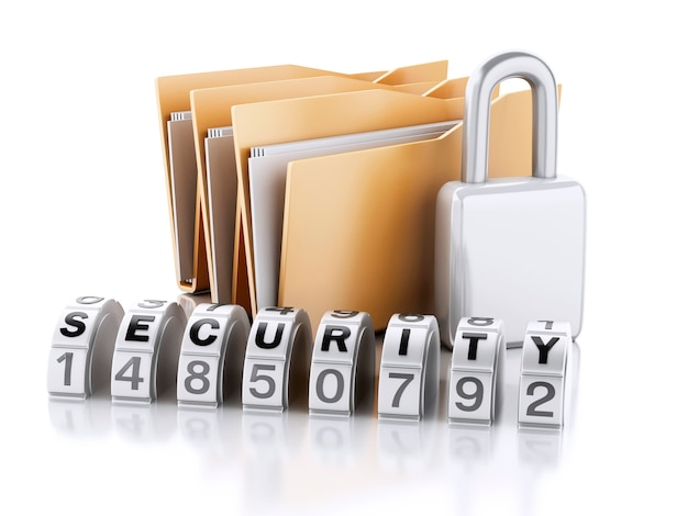 3d folder with padlock and password combination