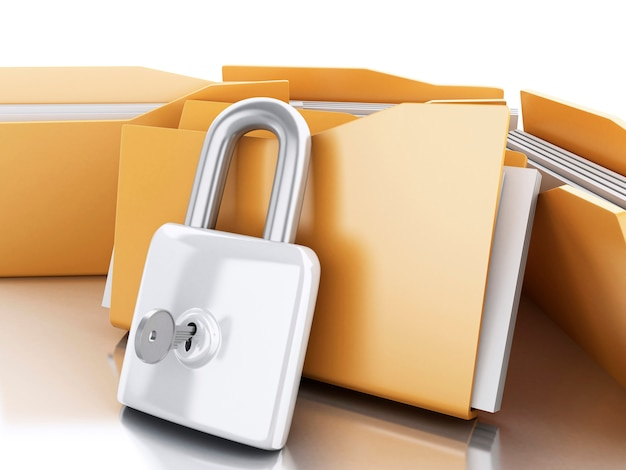 3d folders with padlock and key.