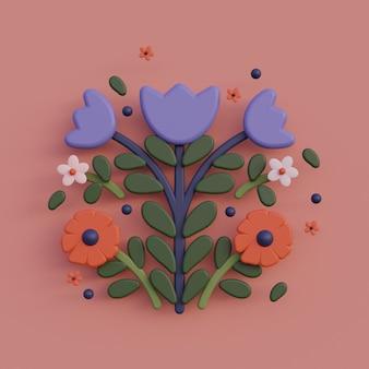 3d иллюстрации народного искусства мультфильм цветок композиции народного искусства красочные визуализации иллюстрации
