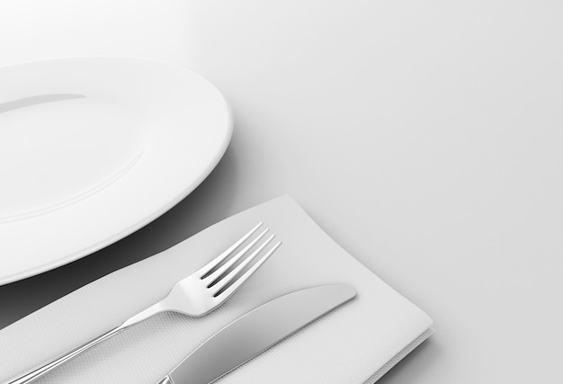 3d fork and knife with empty plate