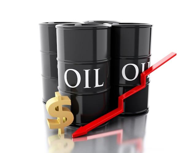 3d 4 배럴의 석유입니다. 사업 개념. 프리미엄 사진