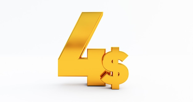3d of four dollar isolated on white background, usa dollar $, golden four dollar $