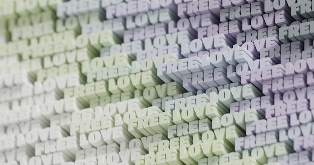 3d 무료 사랑. 추상 인쇄 상의 3d 글자 배경입니다. 밝은 녹색, 올리브, 회색 색상 팔레트의 현대적이고 밝은 트렌디한 단어 패턴입니다. 현대 표지, 프레젠테이션 배경