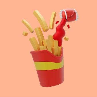 칠리 소스 만화 아이콘 일러스트와 함께 3d 감자 튀김. 3d 음식 개체 아이콘 개념 절연 프리미엄 디자인입니다. 플랫 만화 스타일