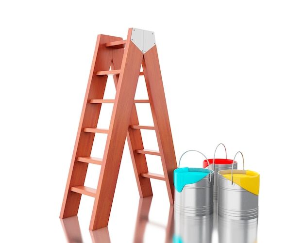3d full paint buckets with brown ladder