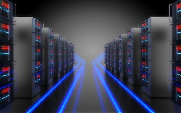 3dの将来のデータセンターの概念。 3dイラスト3