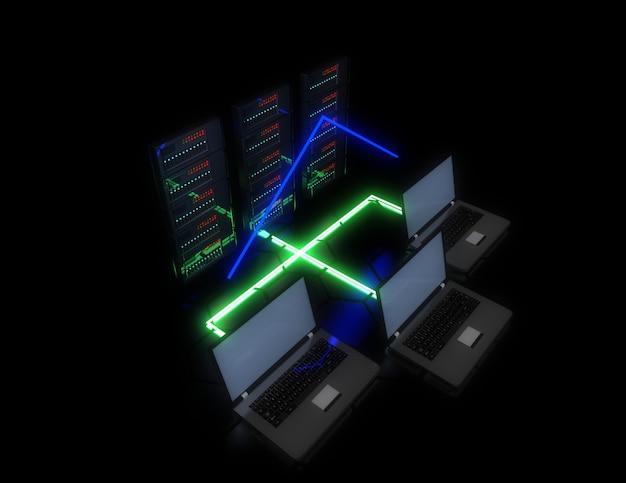 3dの将来のデータセンターの概念。 3dイラスト