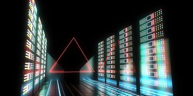 ネオンライトを備えた3dの未来のデータセンターコンセプト。 3dイラスト